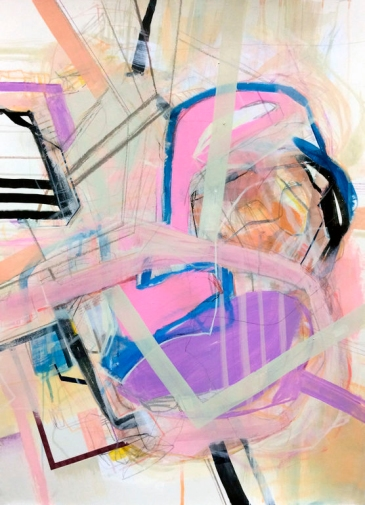 Jaime Derringer - Large Pink and Purple Abstract Painting