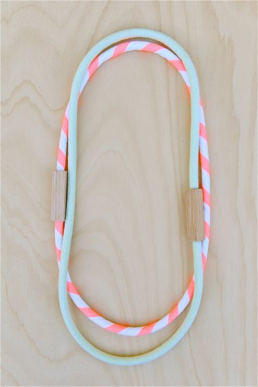 HartHorne - 2 Piece MIXED - Pale Mint Green and Neon Salmon Pink WOOD and COTTON Fabric Necklaces