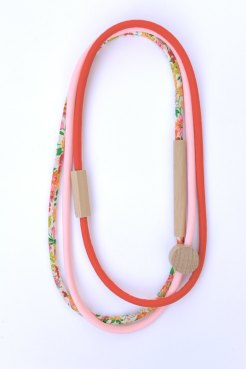 HartHorne - 3 Piece Mixed - WOOD & FABRIC Necklaces - Floral, Tomato Red and Fairy Floss Pink