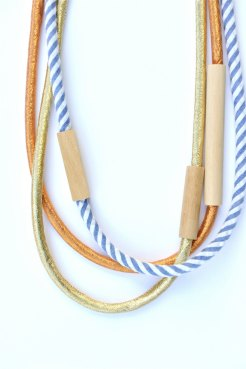 HartHorne - 3 piece MIXED - WOOD & FABRIC necklaces - Gold, Copper, Denim Stripe