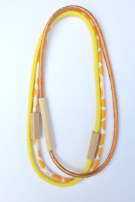 HartHorne - 3 Piece Mixed - WOOD & FABRIC Necklaces - Mango Pebble Spots, Bright Yellow and Metallic Copper
