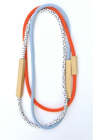 HartHorne - 3 Piece - Wood and Fabric Necklaces in Red, Black and White Dots and Chambray Blue