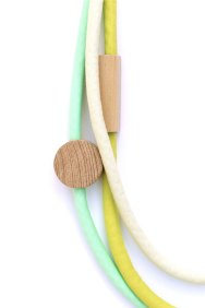 HartHorne - 3 Piece - Wood and Fabric Necklaces - Lime, Peppermint and Pale Mint