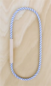 HartHorne - WOOD and COTTON Fabric Necklace - Diagonal Blue STRIPE