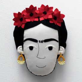 Pollaz - Frida Kahlo Pillow Face - light red and dark red