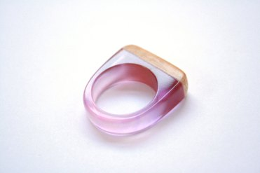 BoldB - Modern ring in size US 7.5 handmade from Australian wood and mulberry pink resin. Made in Australia