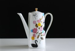 Ninainvorm - Large black swans and colorful dots teapot
