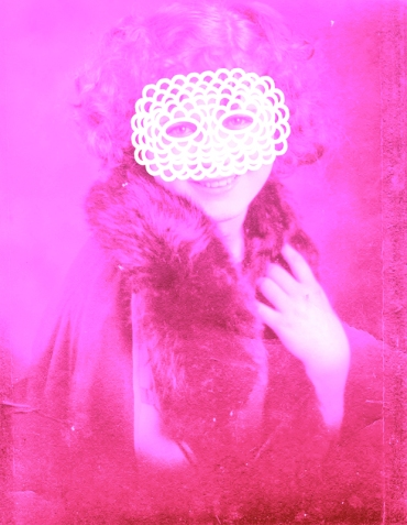Vintage portrait of a woman with a white crochet mask that covers the face.
