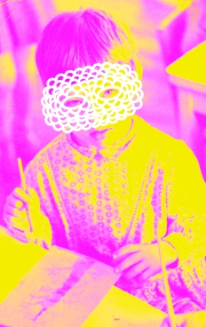 Vintage portrait of a young girl with a white crochet mask that covers the face.
