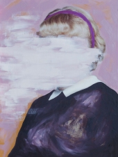 Woman portrait with the face covered by pink color.