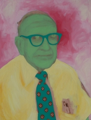Old man portrait with a green tie and yellow shirt.