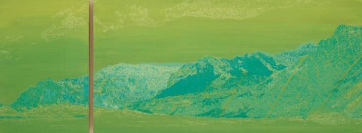 Green monochromatic landscape picture of a mountain