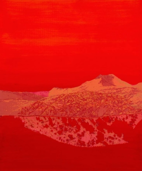 Red monochromatic landscape picture of a mountain