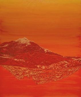 Orange monochromatic landscape picture of a mountain