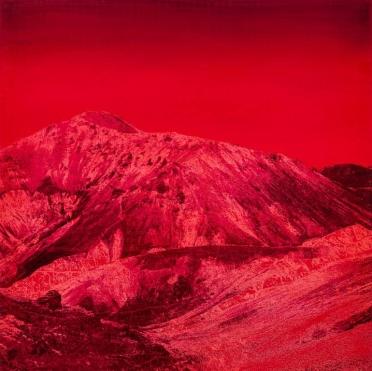 Purple monochromatic landscape picture of a mountain