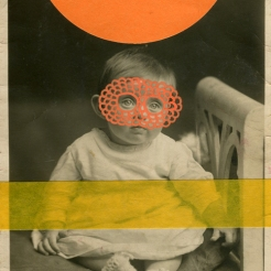 Orange collage on vintage baby portrait.