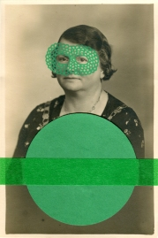 Green collage on vintage woman portrait.