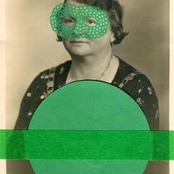 Green collage on vintage woman portrait.