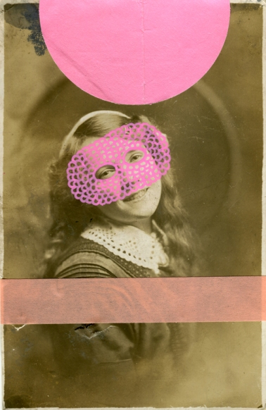 Pink collage on vintage young girl portrait.