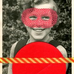 Red collage on vintage girl portrait.