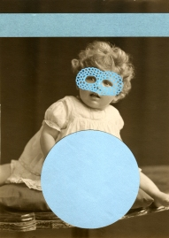 Light blue collage on vintage child portrait.