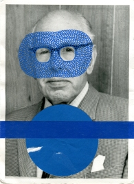 Blue collage on vintage man portrait.