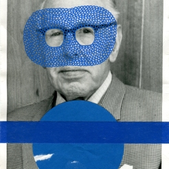 Blue collage on vintage man portrait.