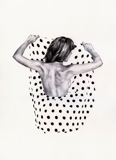 Black and white illustration of a woman with a dotty skirt.