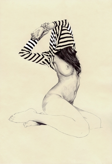 Black and white illustration of a woman with a striped shirt.