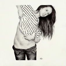 Black and white illustration of a woman with jeans and a striped shirt.