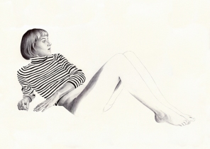 Black and white illustration of a woman a striped shirt.