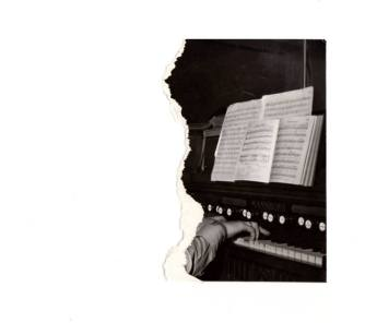 Picture of an handmade collage of a teared vintage photo of a person playing the piano.