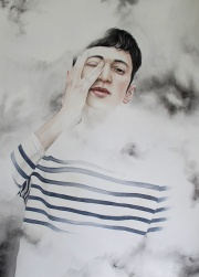Painting of a young man with a white and blue striped shirt surrounded of white foggy effect.