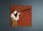 Vinyl cover of a woman portrait with a rifle manipulated with acrylics.