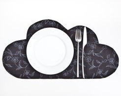 Still like photo of a black cloud shaped placemat with a plate, a fork and a knife on.