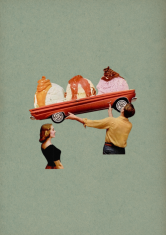 Surreal collage style of a woman and a man holding a car full of ice creams balls.