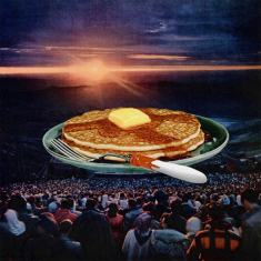 Surreal style collage of a giant pancakes plate watched by a crowd of people.
