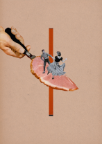 Surreal collage style of a couple dancing on a giant bacon slice.