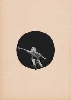 Surreal collage style of a little kid jumping from outside a big black hole.