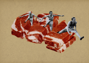 Surreal style collage of three athletes jumping on giant meat.