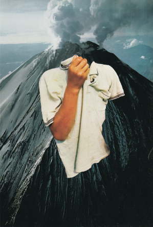 Surreal style collage of a headless person with a volcano landscape background.
