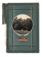 Book cover decorated with paper and mixed media materials.