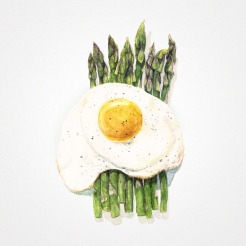 Watercolor illustration of cooked asparagus and an egg on the top