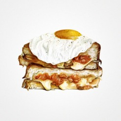 Watercolor illustration of a half cut sandwich with a fried egg on the top.
