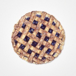 Watercolor illustration of an entire blueberry pie seen from above.