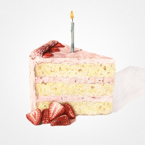 Watercolor illustration of a piece of sponge cake with strawberries and a little candle at the top.
