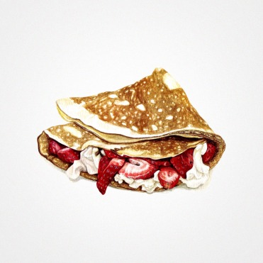 Watercolor illustration of a folded sweet crepe with cream and strawberries.