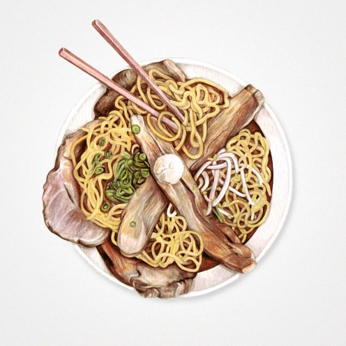 Watercolor illustration of a plate containing noodles and beef with chopsticks on a side.