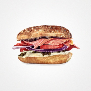 Watercolor illustration of a smoked salmon sandwich.