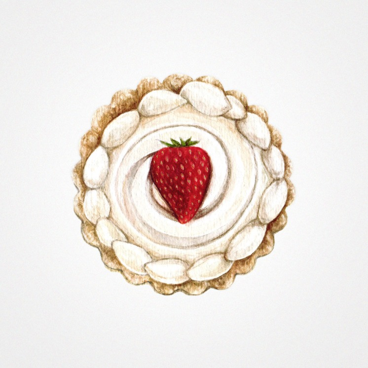 Watercolor illustration of a cream tart with a strawberry at the top.